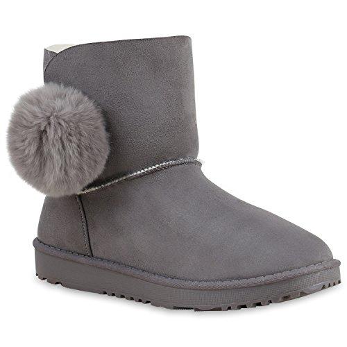 Schlupfstiefel Damen Zierperlen Stiefel Stiefeletten Warm Gefüttert Flandell Grau Autol