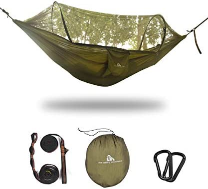 iClimb Pop-Up Camping Hammock with Net, Supports 770 lbs Olive – 2 Pole