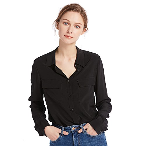 Womens Grade Sleeve Long (LilySilk Women's 100% Silk Blouse Long Sleeve Ladies Shirts 18 Momme Silk Black Size L)