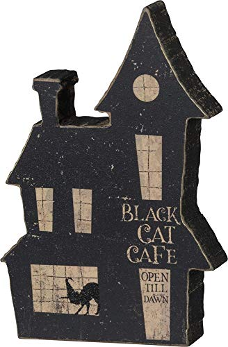 Primitives by Kathy PBK Halloween Decor - Chunky Wood Village Tabletop Sitter (Black Cat Cafe)