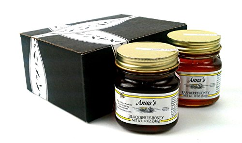 Anna's Gourmet Raw Honey 2-Flavor Variety: One 12 oz Jar Each of Blackberry and Fireweed in a BlackTie Box (2 Items (Annas Honey)