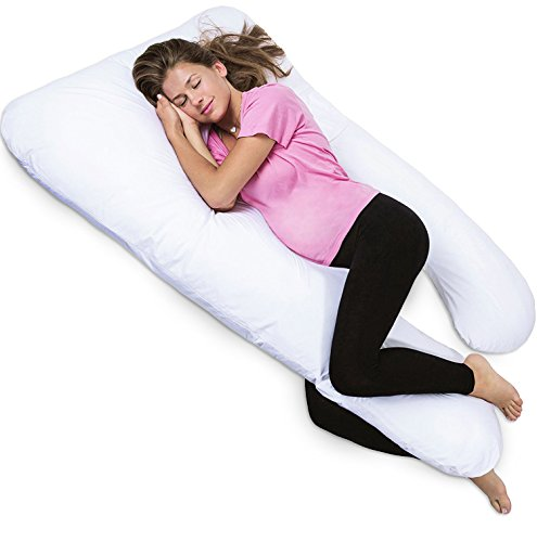 PharMeDoc-Total-Body-Hypoallergenic-Pillow-U-Shaped-With-Detachable-Extension-Comfortable-Maternity-Pregnancy-Cushion-Snuggler-With-Zipper--Pressure-Relieving-Contoured-Support-System