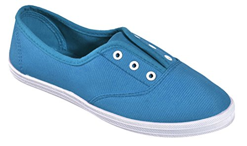 Cambridge Select Dames Slip-on Gesloten Ronde Neus Stretch Elastisch Geen Kanten Platte Plimsoll Fashion Sneaker Hemelsblauw