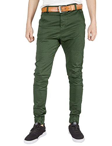 ITALY MORN Men Chino Jogger Pants Elastic Cuff Casual Pants Cotton Twill Khakis Slim Fit Black (2X-Large, Army Green)