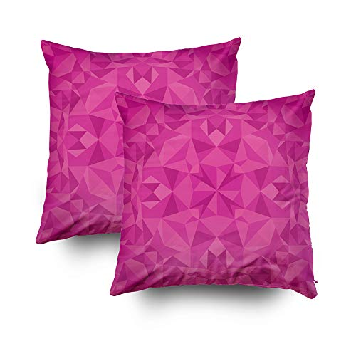 EMMTEEY Home Decor Throw Pillowcase Sofa Cushion Cover,Christmas Pink Magenta Crystal Triangles Decorative Square Accent Zippered Double Sided Printing Pillow Case Covers 18X18Inch,Set of 2
