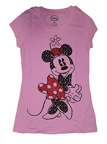 (Disney Minnie Mouse 'Minnie & Glitter' Junior Womens Fashion Top T Shirt)