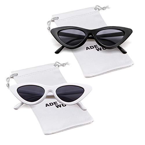 gato 2pcs sol de amp; ADEWU estilo sol protección de de Blanco retro Negro Gafas de mujeres vintage ojo para Gafas gafas Kurt niñas Cobain de wpAwxX1q