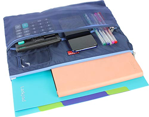 - Larkpad 420D Nylon Mesh and Fabric Zippered Pouch Folder Bag with Inner Layer as Homework Organizer or A4 File Pocket,for School Supplies, Business, Travel