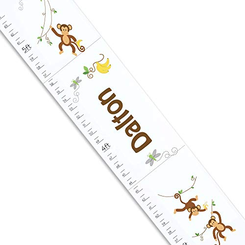 (Personalized White Growth Chart with Monkey Boy Design)