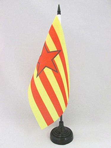 AZ FLAG Bandera de Mesa de Aragon ESTRELADA INDEPENDENTISTA 21x14cm - BANDERINA de DESPACHO ARAGONESA -