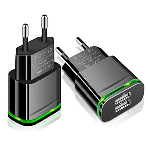 LUOATIP USB Plug Adaptor, 2-Pack Travel Charger 2.1A/5V Dual USB Charger Power Adapter for iPhone XS XR X 8/7/6/6S Plus 5S, iPad, Samsung Galaxy S8/S7/S6 Edge, HTC, LG, Moto