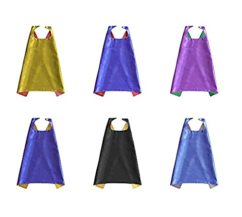 Superhero Capes (6 Pack) Kids Birthday Favors Multiple Colors Dress Up Costumes