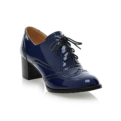 Daxx Leather - Women's Lace up Wingtip Oxford Shoes Classic Fashion Patent Leather Chunky Heel Bootie(Blue 8 B(M) US)