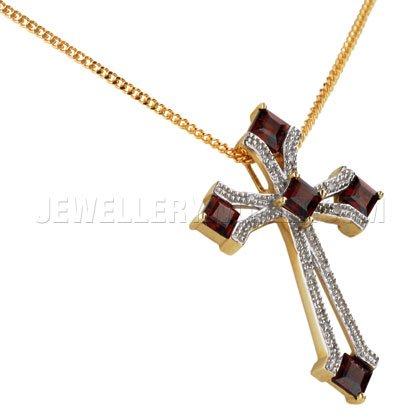 &or 9 carats-Grenat-Diamant-Pendentif Croix Occitane