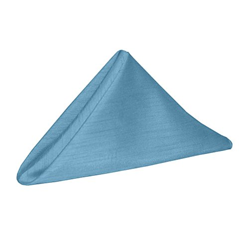 Ultimate Textile -2 Dozen- Reversible Shantung Satin - Majestic 20 x 20-Inch Cloth Dinner Napkins - for Weddings, Home Parties and Special Event use, Light Baby Blue -