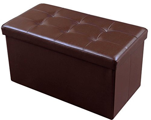 JAF Home Faux Leather Folding Storage Ottoman Bench Foot Rest Brown Color 30x15x15 Inch