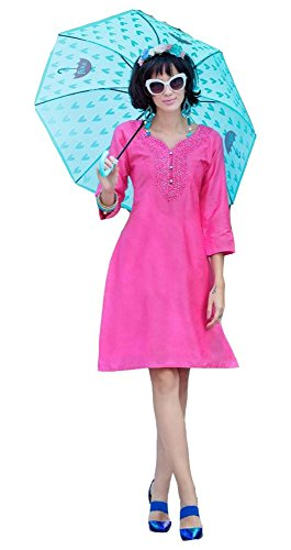 Jayayamala Femmes Blouse Tunique Rose Bordée Chemise Soie Coton Fashion UvnHUqWrw