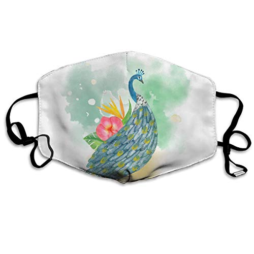 Watercolor Peacock with Flower Dust Mask Original Mouth Mask Dust-Proof Anti-Haze Earloop Face Mask