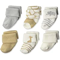 Luvable Friends Baby Newborn Terry Socks 6-Pack, Safari, 0-3 Months