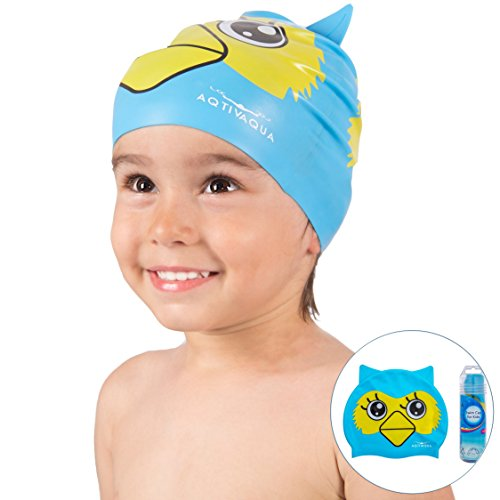 Silicone Swimming Cap for Boys and Girls (ages 2-9) + Storage Tube by AqtivAqua ~ Comfortable and Easy to Use Protective Swim Cap for Kids (LightBlue - Stores In Swimming Caps