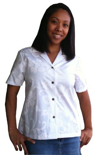 RJC Womens Classic Hibiscus Camp Shirt in White - 3X Plus