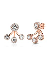 Sterling Silver Front Back 2 in 1 Cubic Zirconia Halo Earrings and Ear Jacket Cuff Set.