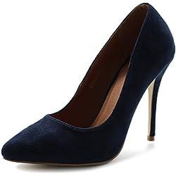 Ollio Women's Faux Suede Point Toe Shoe D'Orsay High Heel Multi Color Pump SSH0007(8 B(M) US, Navy)