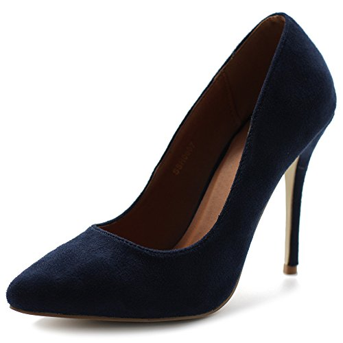 Ollio Women's Faux Suede Point Toe Shoe D'Orsay High Heel Multi Color Pump SSH0007(8 B(M) US, Navy) (High Point Heel)