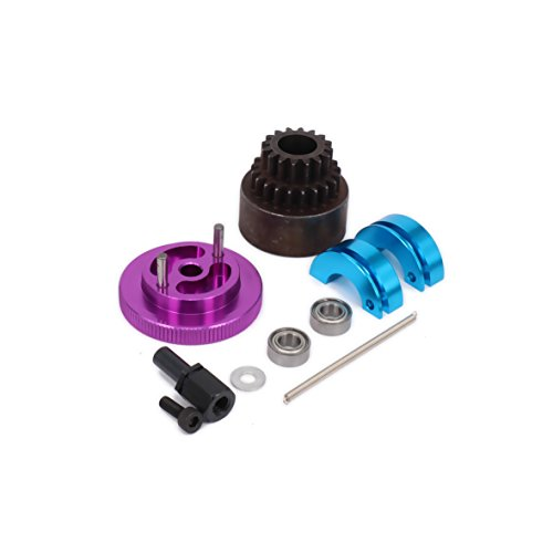RCAWD Two Speed Clutch Set Bell Shoes Springs Flywheel Bearings Axle 16T-21T 16-21 Tooth Teeth for 1/10 RC Hobby Model Nitro Car HPI HSP Traxxas Axial 1set(Purple) (1 Aluminum Parts 18 Traxxas)