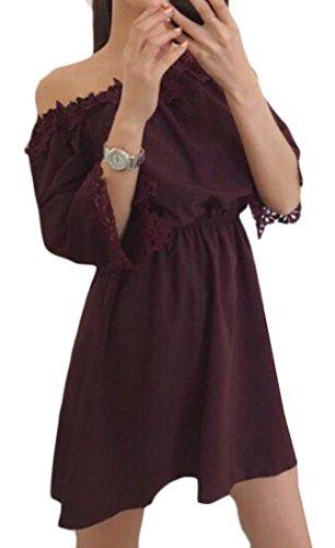 Jaycargogo Des Femmes De L'été Au Large Crochet Dentelle Épaule Nouée Plissée Mini-robe Marron