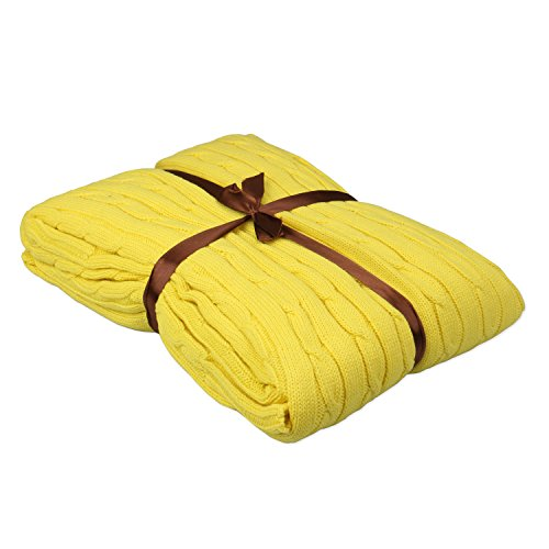 - HEHEINC Cotton Knitted Throw Blanket, Crocheted Blanket Cable Knit Blanket Throw Soft Warm Sleeping Cover for Kids or Adults Bedroom/Sofa/Couch/Office/Lounge 47.3x70.9inch (Yellow)