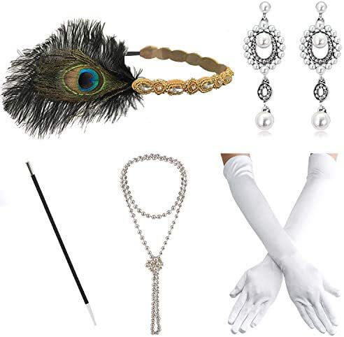 1920s Great Gatsby Accessories Set for Women,Costume Flapper Headpiece Headband