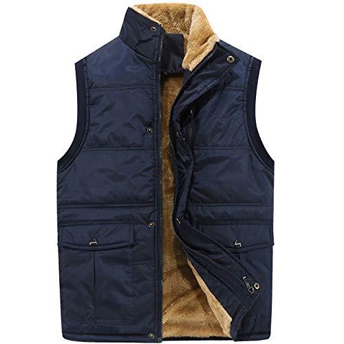 - Flygo Men's Fleece Lined Lightweight Jacket Sleeveless Down Quilted Vest Coat (Blue, Large)