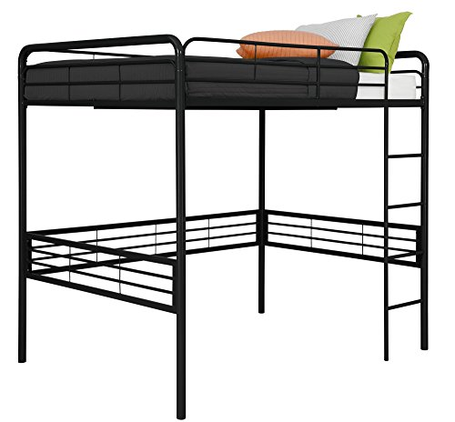Dhp full metal loft bed with ladder space saving design for Space saving bed frame