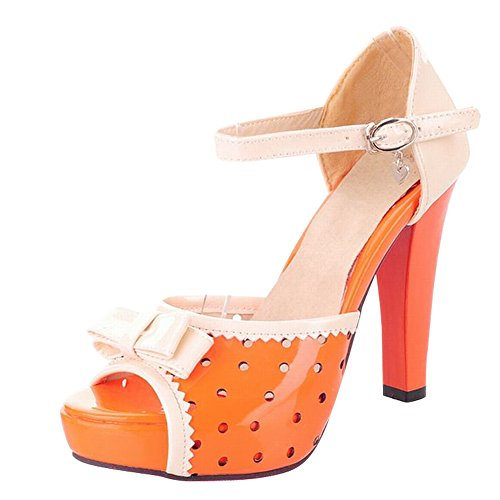 Carol Shoes Women's New Style High Heel Hollow Patterns Bows Sandals Orange xqJ5dPCOjx