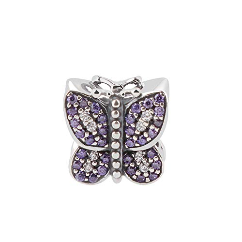 (Sparkling Butterfly with Australian Crystals Charm 925 Sterling Silver Bead for European Compatible Brand Bracelet )