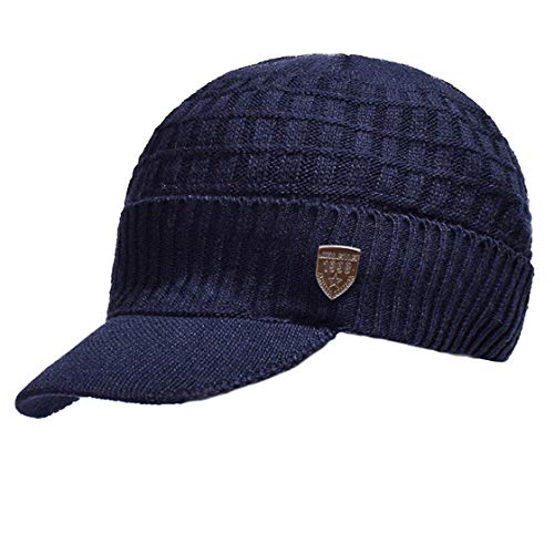 Acvip Bonnet Sombrero y Deportes Knit Man aire Juegos bufanda Winter circular oscuro Sombrero azul al con Warm visera libre 4rf4xaW