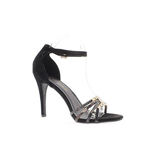 Sandales grande taille noires à talon de 11cm aspect daim et serpent