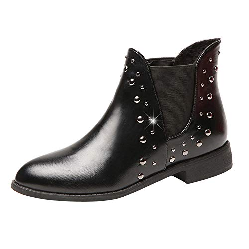 Flat Shoes for Winter kaifongfu PU Leather Keep Warm Boot Boots(Black,US:7.5) ()