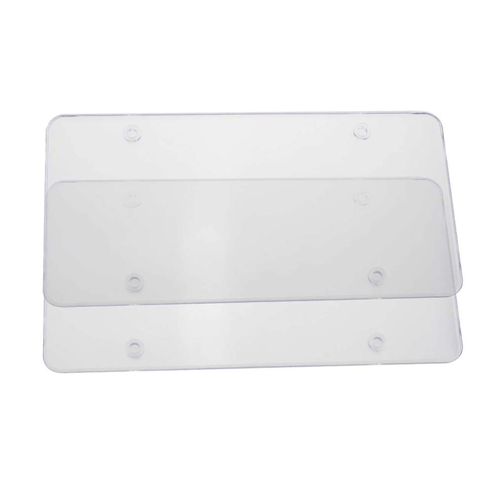 Soulitem 2Pcs Transparent License Plate Tag Frame Cover Shield for 6x12Inch Car Truck