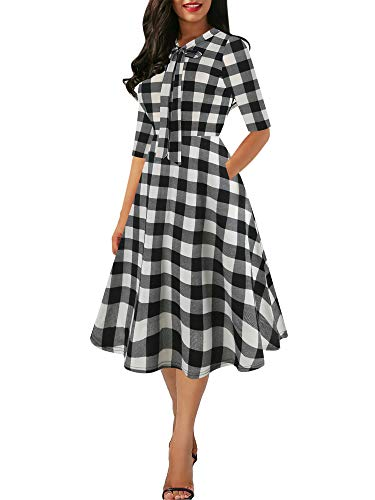 oxiuly Women's Vintage Plaid Bow Tie V-Neck Pockets Casual Work Party Cocktail Swing A-line Dress OX278 (L, Wfu-Plaid 5)