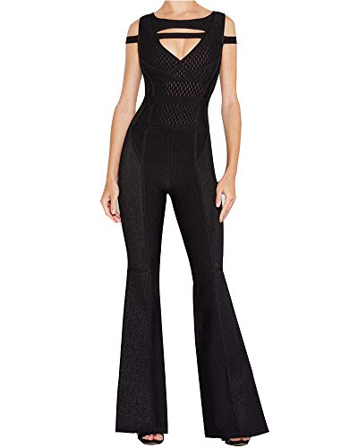 UONBOX Women's Cut Out Off Shoulder Flare Leg Club Party Jumpsuit Rompers Black XS by UONBOX