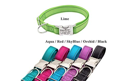 ZTZ Personalized Dog Collar, Reflective Custom Dog Collar with Name Phone  Number Adjustable Size (S M L)