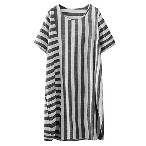 Casual Cotton Dress for Women,QueenMMComfy Breathable Striped Short Sleeve O Neck Dress Loose Fit Summer Dress - American Tie Apparel