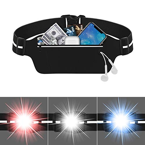 ZinonMax Running Pouch Belt with LED Light, USA Patented, Runner Waist Pack iPhone X 6 7 8 for Men and Women (with LED Light)