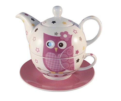 Teekannen-Set Eule Tea for One Teekanne mit Tasse und Teller (pink)