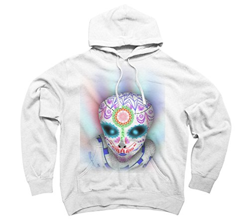 alien sugar skull Men's Large White Graphic Pullover Hoodie - Design By Humans