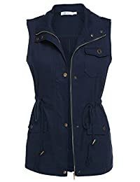 Meaneor Womens Lightweight Sleeveless Military Anorak Vest