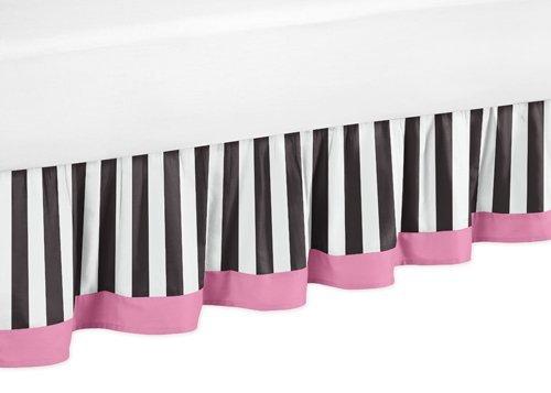 Sweet Jojo Designs Toddler Bed Skirt for Pink, Black and White Stripe Kids Children's Paris Bedding Sets