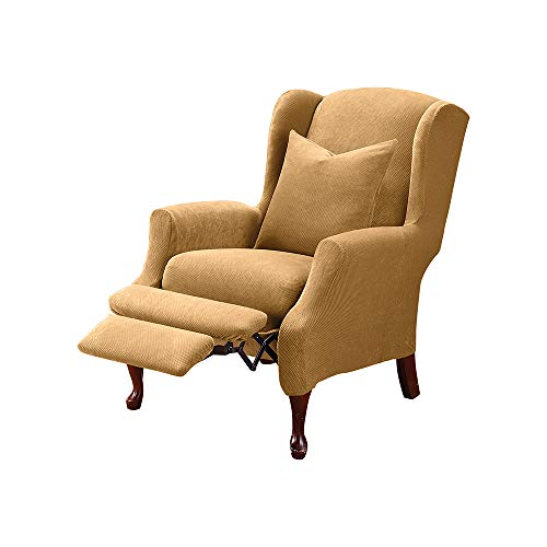 SureFit Stretch Pique - Reclining Wing Chair Slipcover - Antique